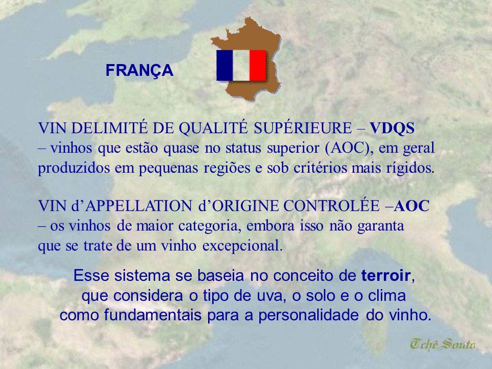 . O sistema francês de classificação dos vinhos foi usado como base para vários outros países, e se divide em: VIN DE TABLE – o vinho produzido sem de