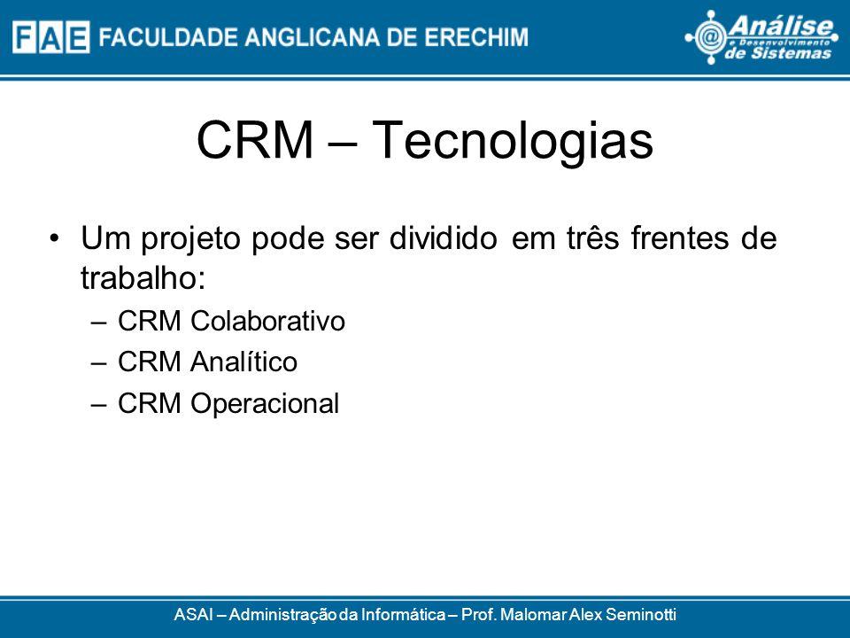 CRM – Tecnologias Um projeto pode ser dividido em três frentes de trabalho: –CRM Colaborativo –CRM Analítico –CRM Operacional ASAI – Administração da