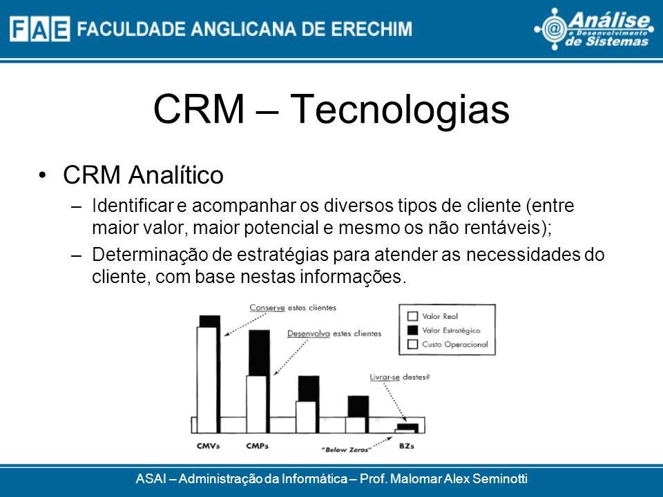 CRM – Tecnologias CRM Analítico –Identificar e acompanhar os diversos tipos de cliente (entre maior valor, maior potencial e mesmo os não rentáveis); –Determinação de estratégias para atender as necessidades do cliente, com base nestas informações.