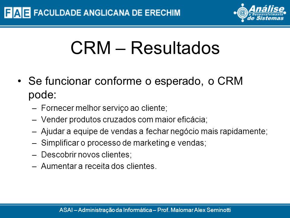 CRM – Resultados Se funcionar conforme o esperado, o CRM pode: –Fornecer melhor serviço ao cliente; –Vender produtos cruzados com maior eficácia; –Aju