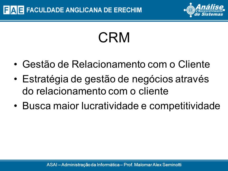 CRM Gestão de Relacionamento com o Cliente Estratégia de gestão de negócios através do relacionamento com o cliente Busca maior lucratividade e competitividade ASAI – Administração da Informática – Prof.