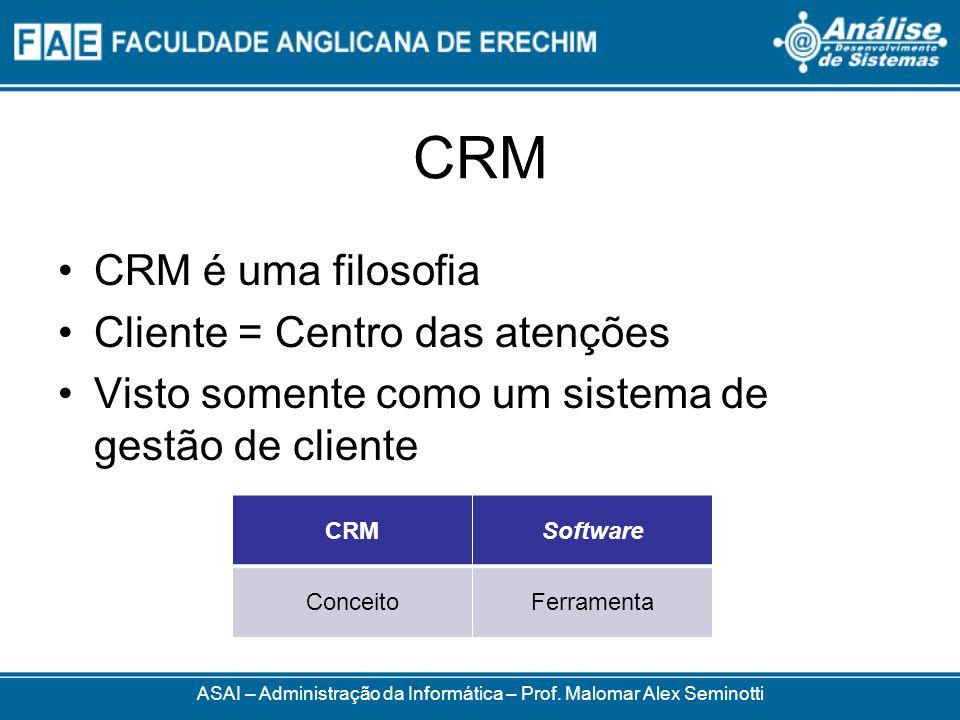 CRM CRM é uma filosofia Cliente = Centro das atenções Visto somente como um sistema de gestão de cliente ASAI – Administração da Informática – Prof.