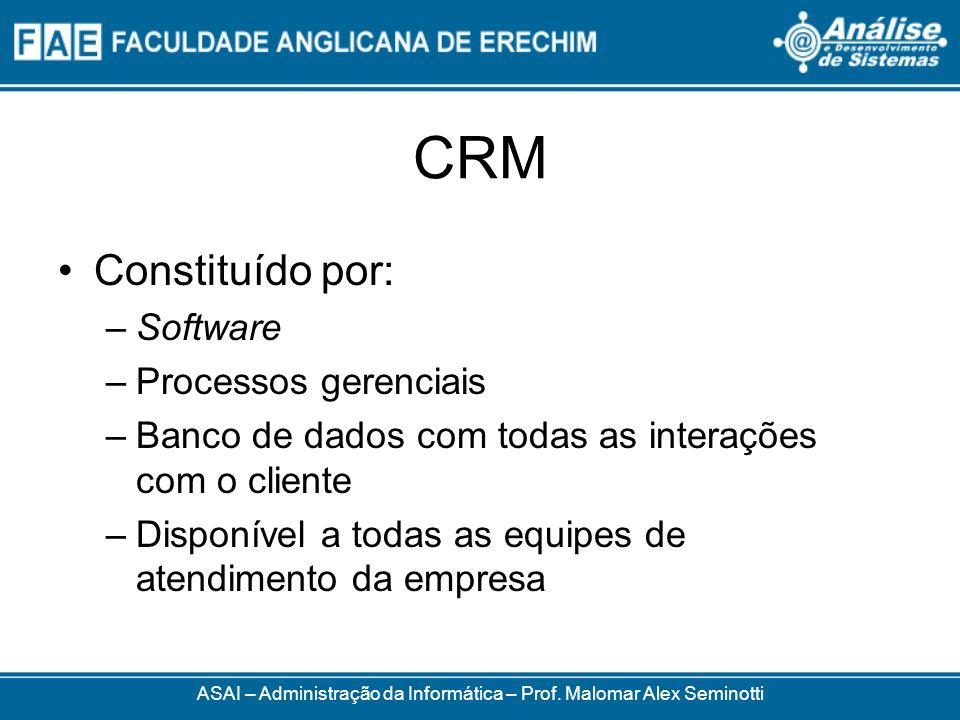 CRM Constituído por: –Software –Processos gerenciais –Banco de dados com todas as interações com o cliente –Disponível a todas as equipes de atendimento da empresa ASAI – Administração da Informática – Prof.