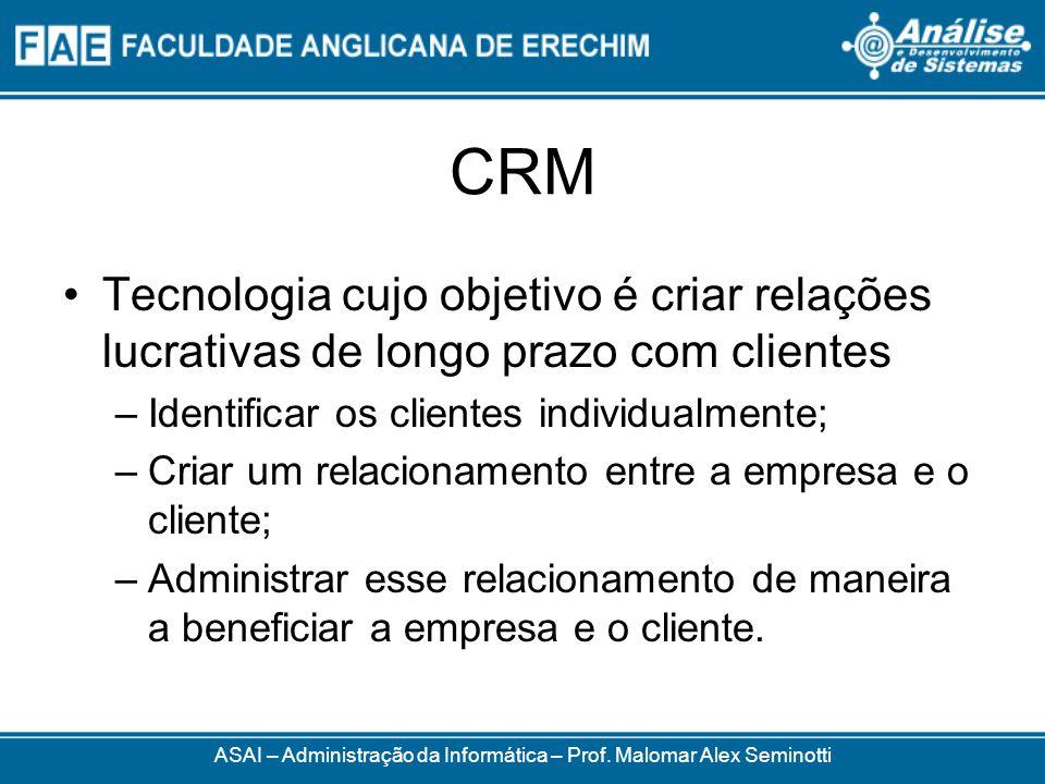 CRM Tecnologia cujo objetivo é criar relações lucrativas de longo prazo com clientes –Identificar os clientes individualmente; –Criar um relacionament