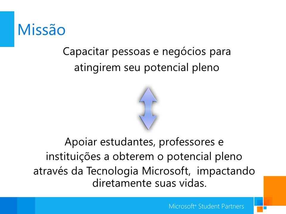 Missão Capacitar pessoas e negócios para atingirem seu potencial pleno Apoiar estudantes, professores e instituições a obterem o potencial pleno através da Tecnologia Microsoft, impactando diretamente suas vidas.