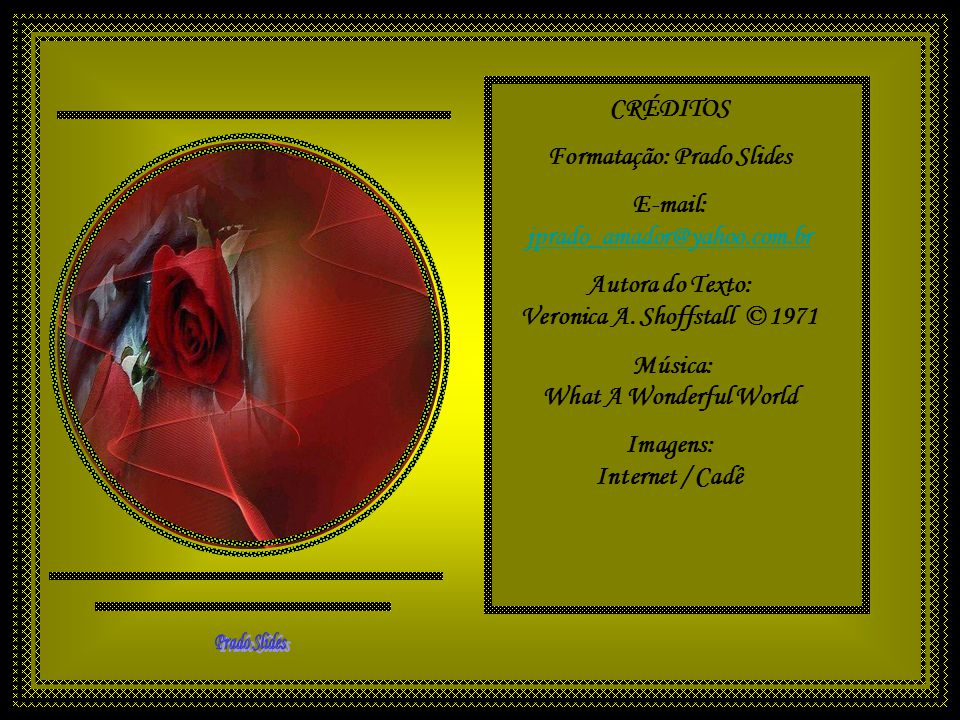 CRÉDITOS Formatação: Prado Slides E-mail: jprado_amador@yahoo.com.br Autora do Texto: Veronica A.