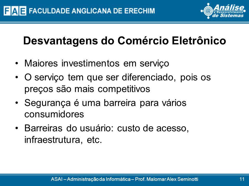 Desvantagens do Comércio Eletrônico Maiores investimentos em serviço O serviço tem que ser diferenciado, pois os preços são mais competitivos Segurança é uma barreira para vários consumidores Barreiras do usuário: custo de acesso, infraestrutura, etc.