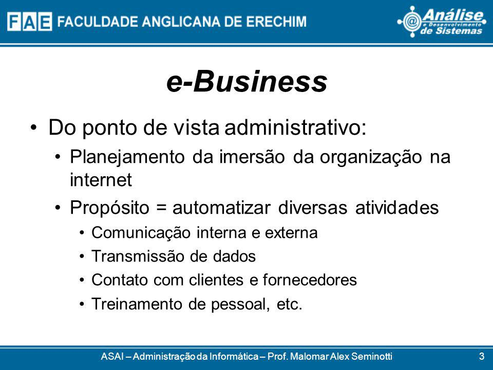 e-Business Não compreende apenas comércio Também é qualquer tipo de prestação de serviços, troca e disponibilização de informações ASAI – Administração da Informática – Prof.