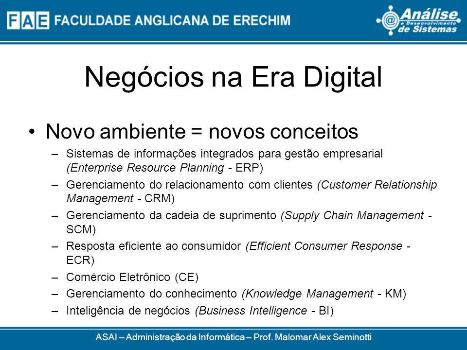Negócios na Era Digital Novo ambiente = novos conceitos –Sistemas de informações integrados para gestão empresarial (Enterprise Resource Planning - ER