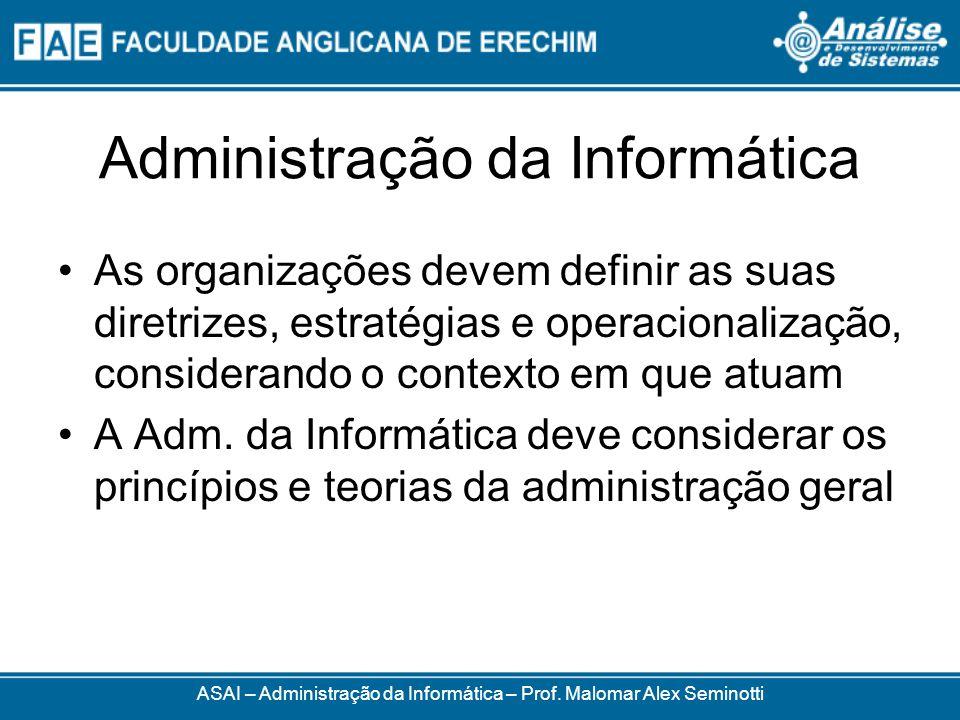 Administração da Informática As organizações devem definir as suas diretrizes, estratégias e operacionalização, considerando o contexto em que atuam A