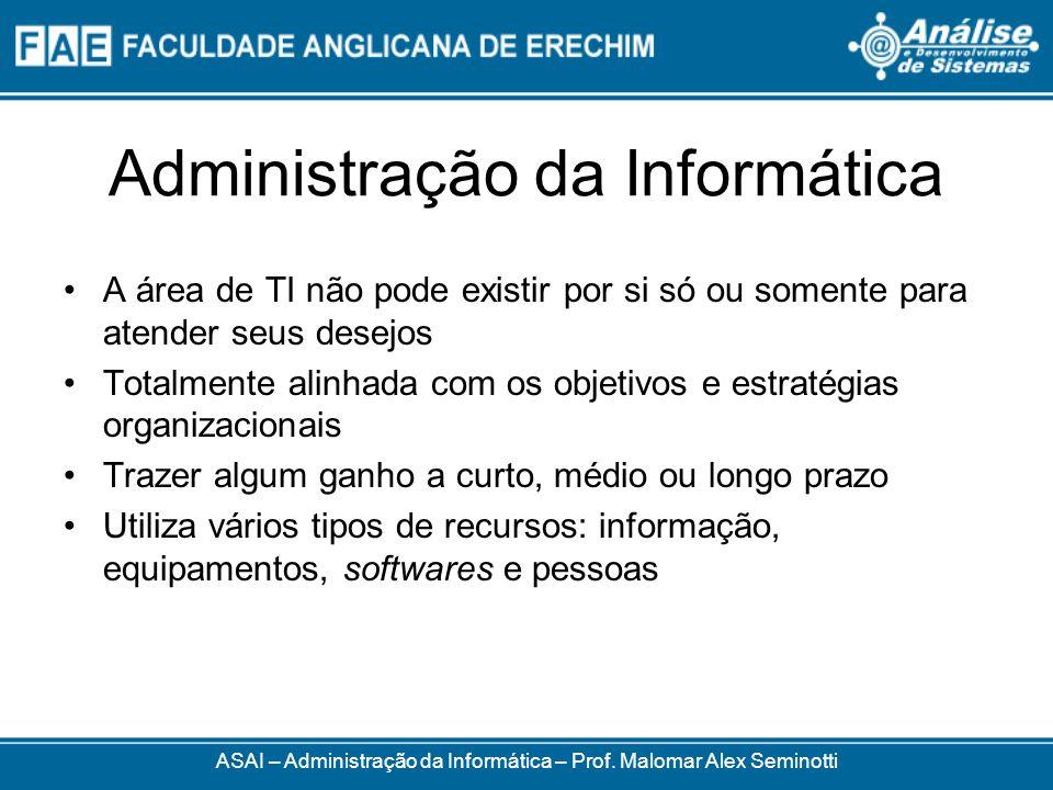 Administração da Informática ASAI – Administração da Informática – Prof. Malomar Alex Seminotti A área de TI não pode existir por si só ou somente par