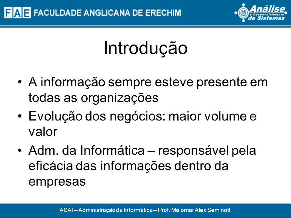 Introdução A informação sempre esteve presente em todas as organizações Evolução dos negócios: maior volume e valor Adm. da Informática – responsável