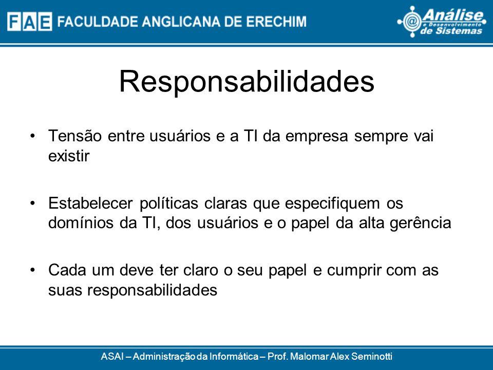 Responsabilidades ASAI – Administração da Informática – Prof. Malomar Alex Seminotti Tensão entre usuários e a TI da empresa sempre vai existir Estabe