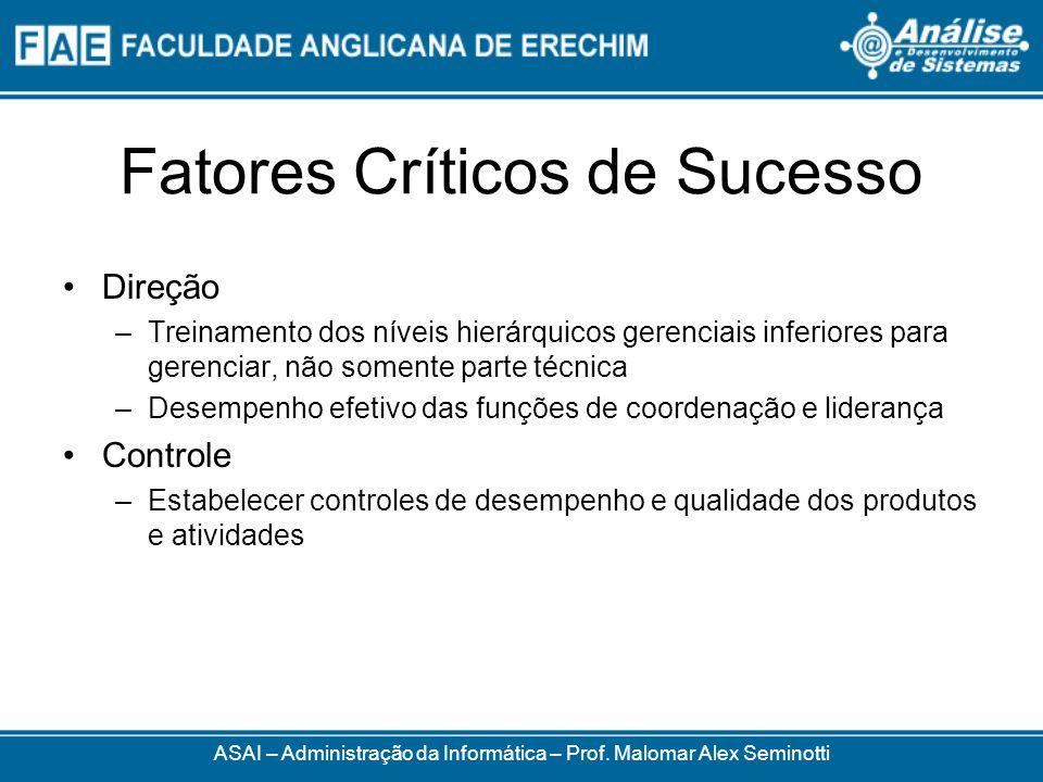 Fatores Críticos de Sucesso ASAI – Administração da Informática – Prof. Malomar Alex Seminotti Direção –Treinamento dos níveis hierárquicos gerenciais