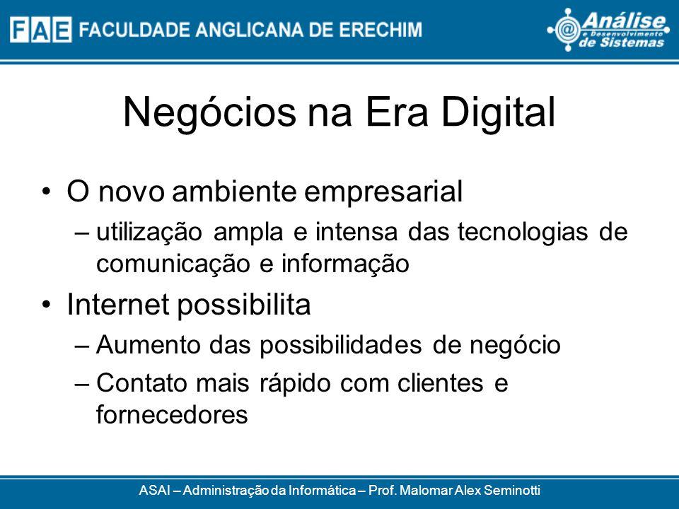 Negócios na Era Digital O novo ambiente empresarial –utilização ampla e intensa das tecnologias de comunicação e informação Internet possibilita –Aume