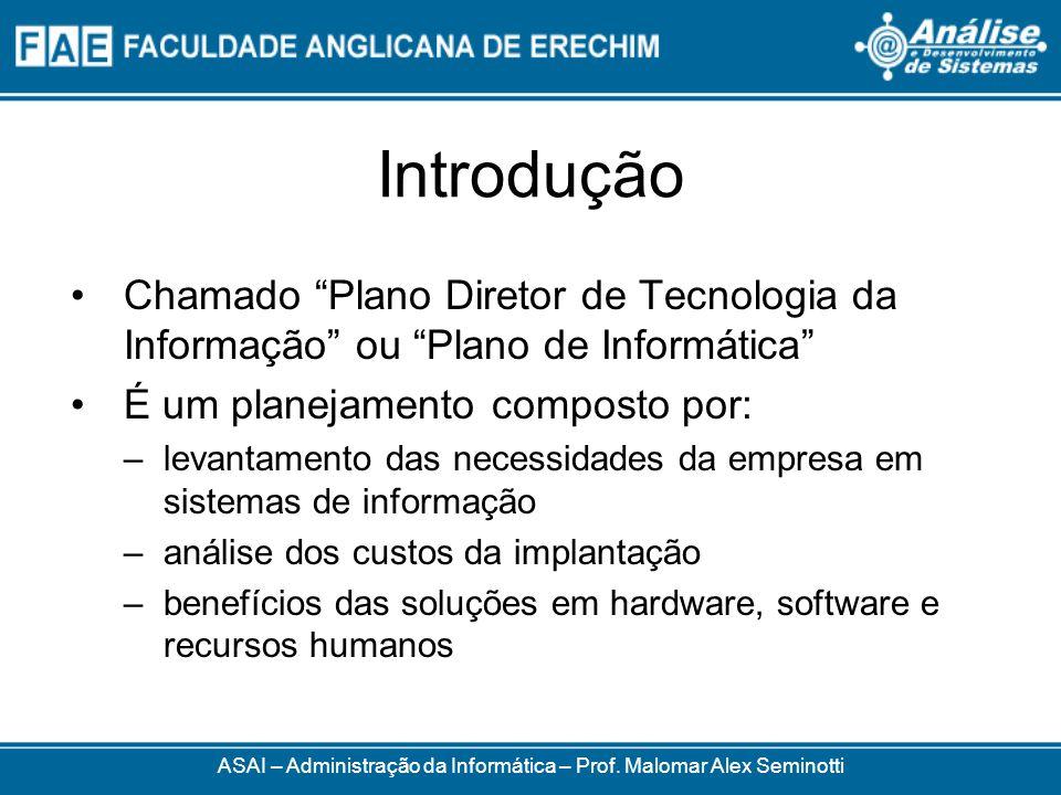 Introdução Chamado Plano Diretor de Tecnologia da Informação ou Plano de Informática É um planejamento composto por: –levantamento das necessidades da