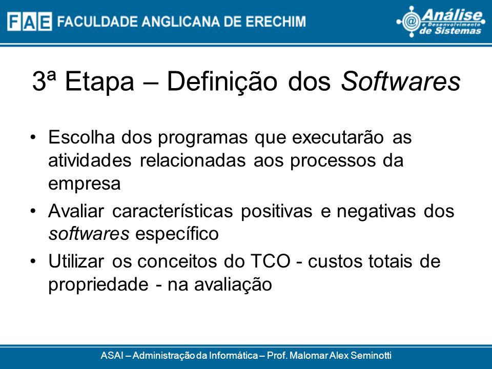 3ª Etapa – Definição dos Softwares Escolha dos programas que executarão as atividades relacionadas aos processos da empresa Avaliar características po