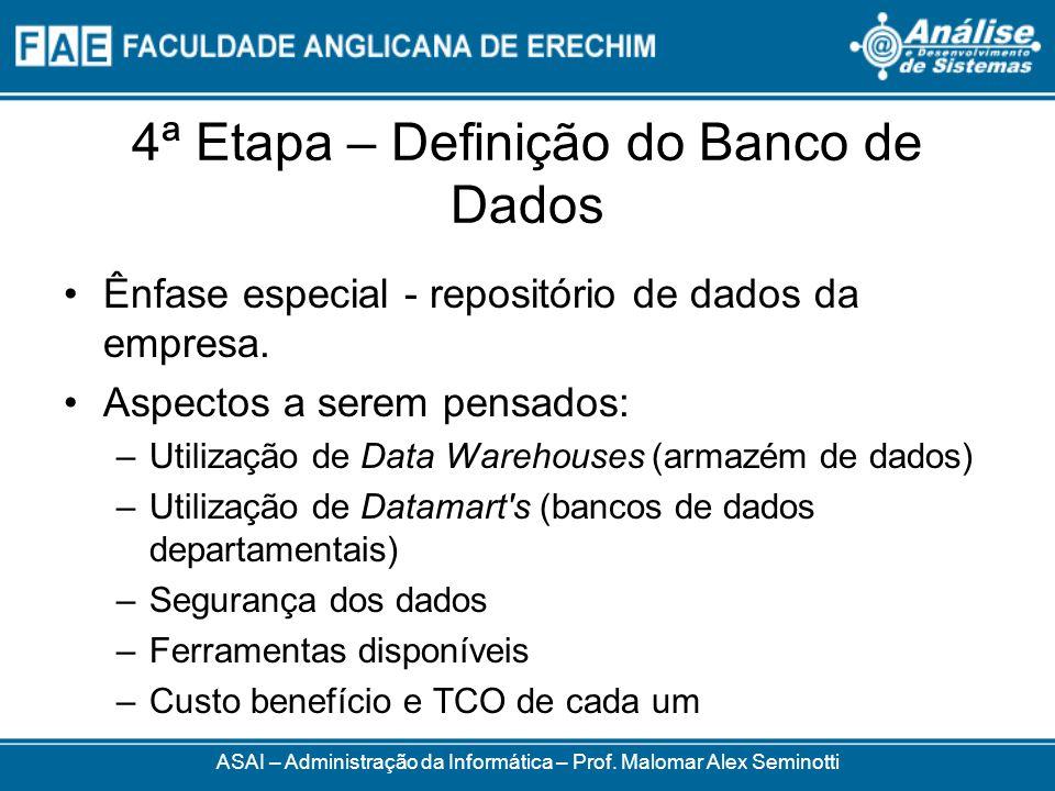 4ª Etapa – Definição do Banco de Dados Ênfase especial - repositório de dados da empresa. Aspectos a serem pensados: –Utilização de Data Warehouses (a
