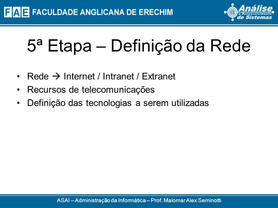 5ª Etapa – Definição da Rede Rede Internet / Intranet / Extranet Recursos de telecomunicações Definição das tecnologias a serem utilizadas ASAI – Admi