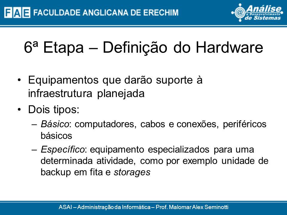 6ª Etapa – Definição do Hardware Equipamentos que darão suporte à infraestrutura planejada Dois tipos: –Básico: computadores, cabos e conexões, perifé