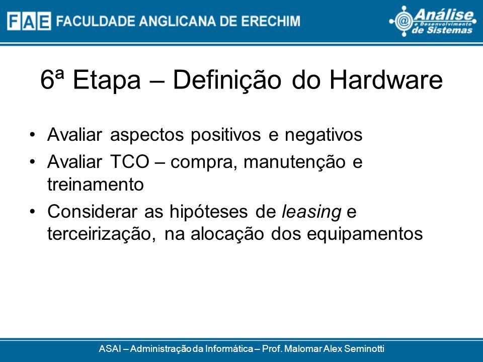 6ª Etapa – Definição do Hardware Avaliar aspectos positivos e negativos Avaliar TCO – compra, manutenção e treinamento Considerar as hipóteses de leas