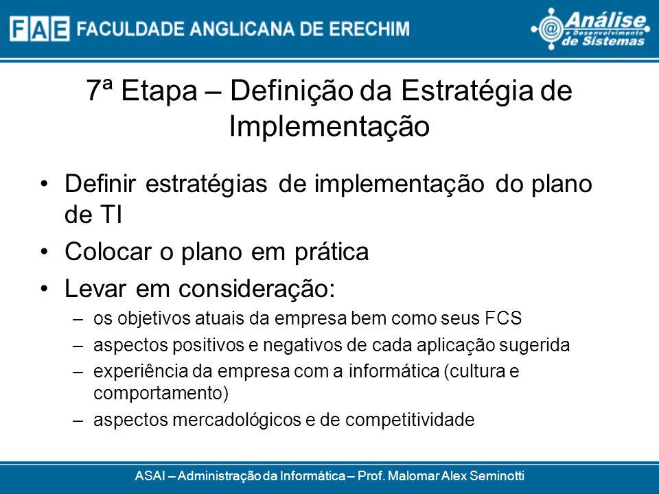 7ª Etapa – Definição da Estratégia de Implementação Definir estratégias de implementação do plano de TI Colocar o plano em prática Levar em consideraç
