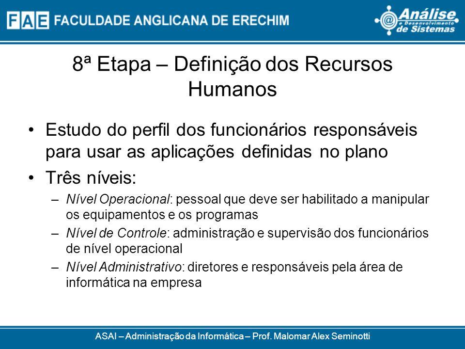 8ª Etapa – Definição dos Recursos Humanos Estudo do perfil dos funcionários responsáveis para usar as aplicações definidas no plano Três níveis: –Níve