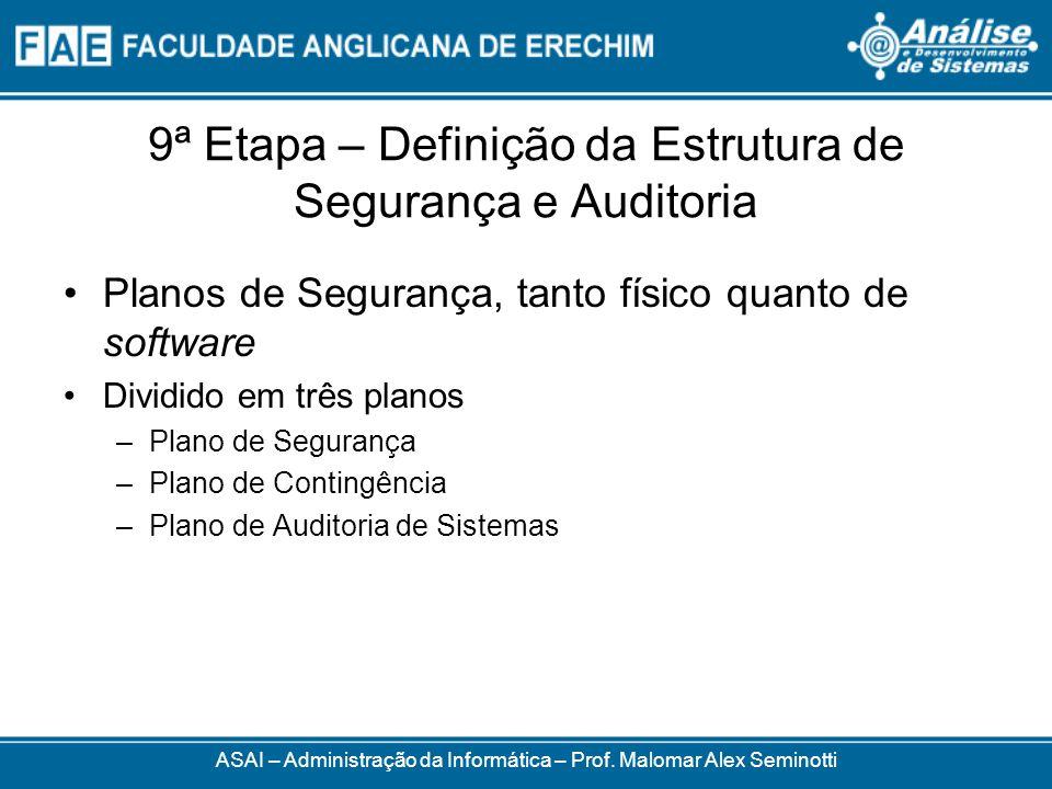9ª Etapa – Definição da Estrutura de Segurança e Auditoria Planos de Segurança, tanto físico quanto de software Dividido em três planos –Plano de Segu