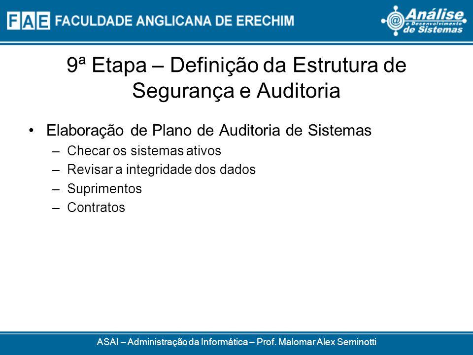 9ª Etapa – Definição da Estrutura de Segurança e Auditoria Elaboração de Plano de Auditoria de Sistemas –Checar os sistemas ativos –Revisar a integrid
