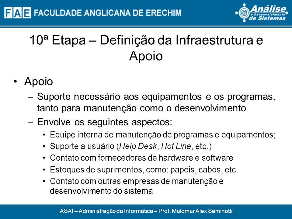 10ª Etapa – Definição da Infraestrutura e Apoio Apoio –Suporte necessário aos equipamentos e os programas, tanto para manutenção como o desenvolviment