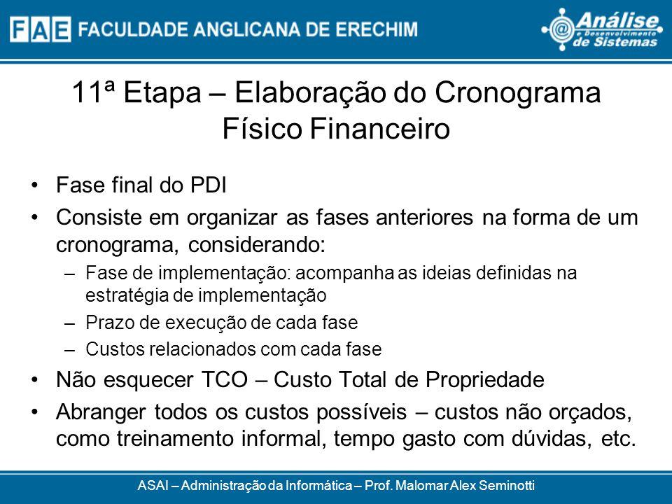 11ª Etapa – Elaboração do Cronograma Físico Financeiro Fase final do PDI Consiste em organizar as fases anteriores na forma de um cronograma, consider