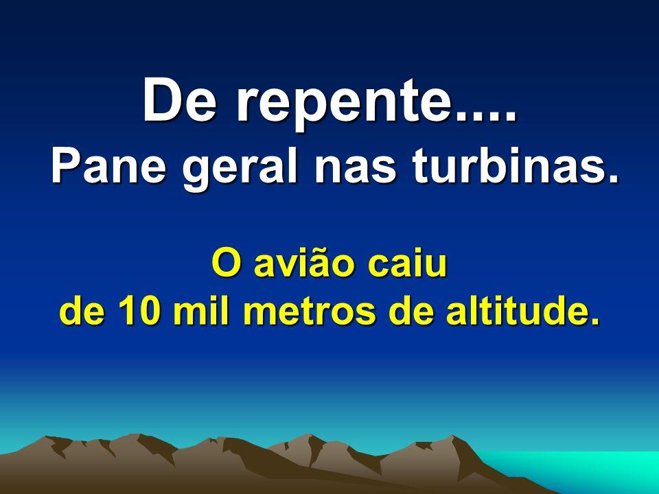 De repente.... Pane geral nas turbinas. O avião caiu de 10 mil metros de altitude.