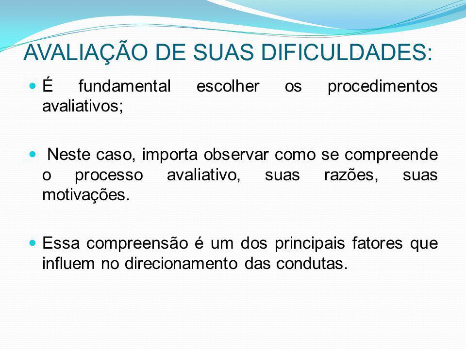AVALIAÇÃO DE SUAS DIFICULDADES: É fundamental escolher os procedimentos avaliativos; Neste caso, importa observar como se compreende o processo avalia