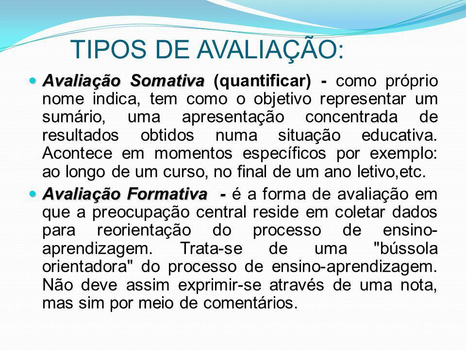 TIPOS DE AVALIAÇÃO: Avaliação Somativa Avaliação Somativa (quantificar) - como próprio nome indica, tem como o objetivo representar um sumário, uma ap