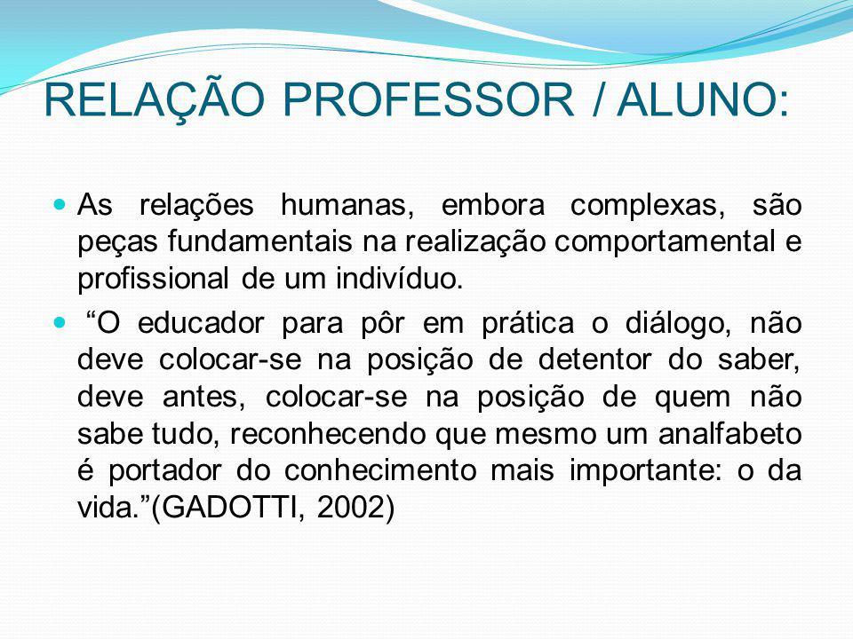 RELAÇÃO PROFESSOR / ALUNO: As relações humanas, embora complexas, são peças fundamentais na realização comportamental e profissional de um indivíduo.