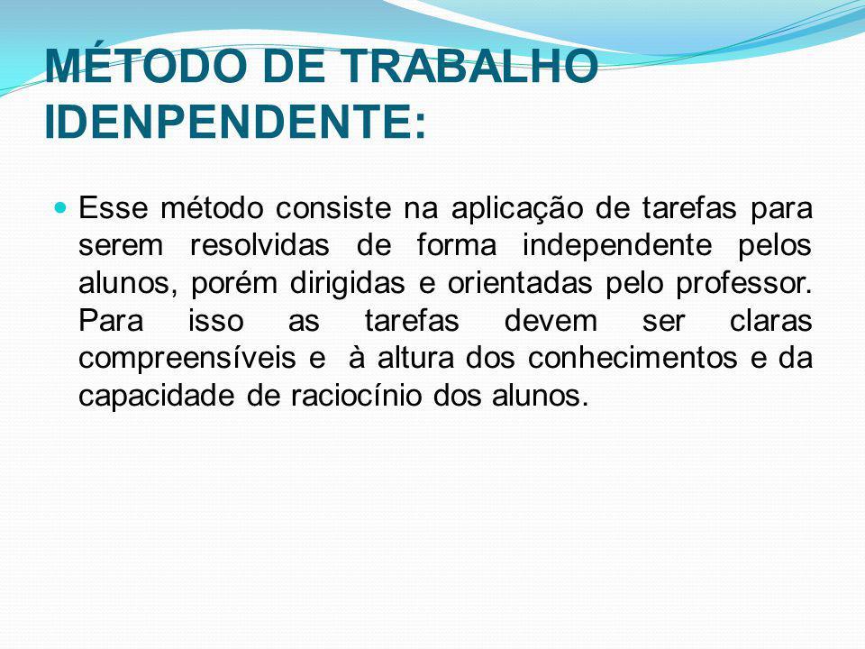 MÉTODO DE TRABALHO IDENPENDENTE: Esse método consiste na aplicação de tarefas para serem resolvidas de forma independente pelos alunos, porém dirigida