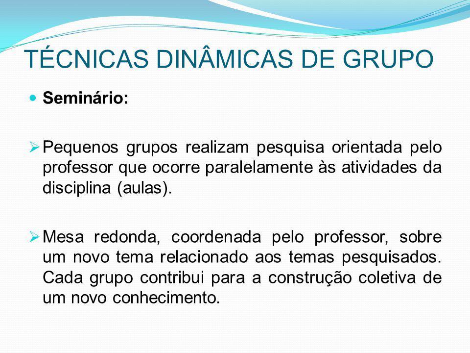 TÉCNICAS DINÂMICAS DE GRUPO Seminário: Pequenos grupos realizam pesquisa orientada pelo professor que ocorre paralelamente às atividades da disciplina