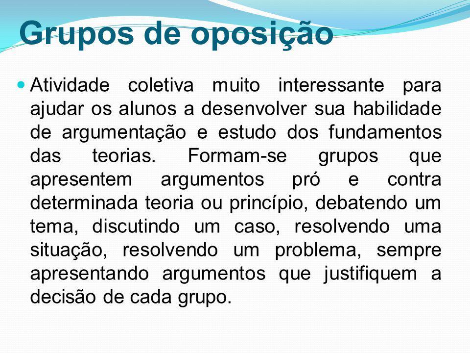 Grupos de oposição Atividade coletiva muito interessante para ajudar os alunos a desenvolver sua habilidade de argumentação e estudo dos fundamentos d