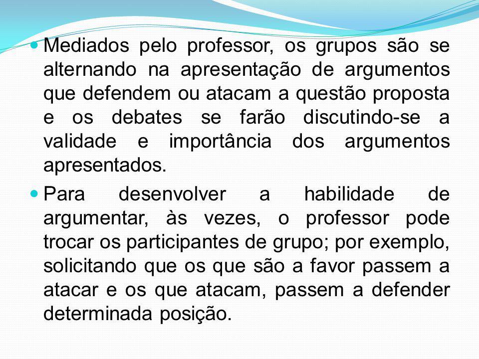 Mediados pelo professor, os grupos são se alternando na apresentação de argumentos que defendem ou atacam a questão proposta e os debates se farão dis