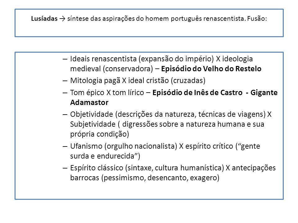 Lusíadas síntese das aspirações do homem português renascentista. Fusão: – Ideais renascentista (expansão do império) X ideologia medieval (conservado