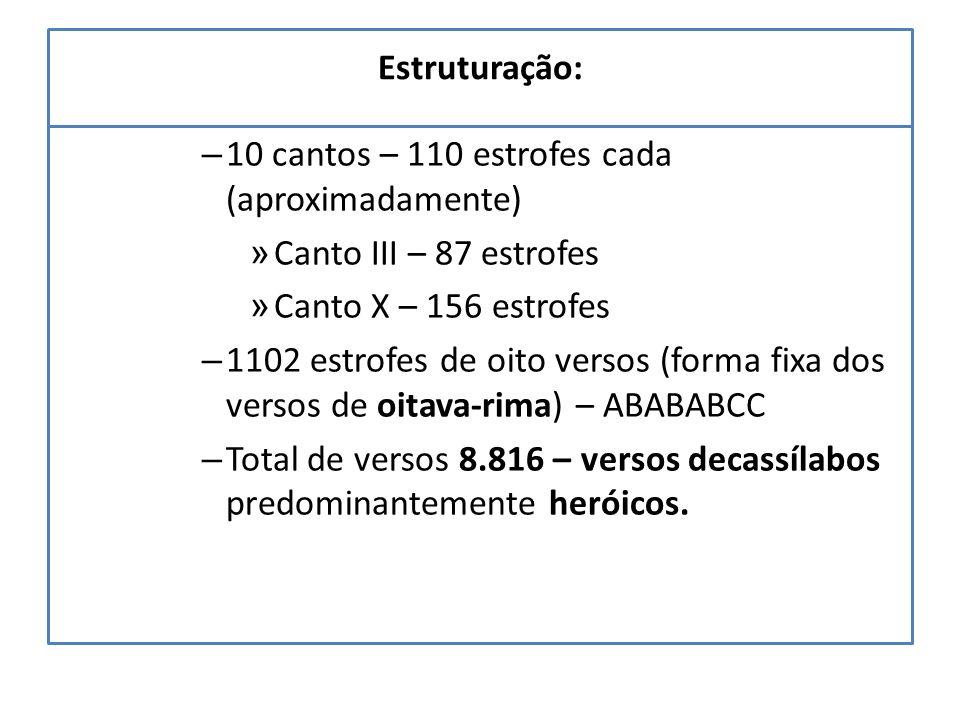 Estruturação: – 10 cantos – 110 estrofes cada (aproximadamente) » Canto III – 87 estrofes » Canto X – 156 estrofes – 1102 estrofes de oito versos (forma fixa dos versos de oitava-rima) – ABABABCC – Total de versos 8.816 – versos decassílabos predominantemente heróicos.