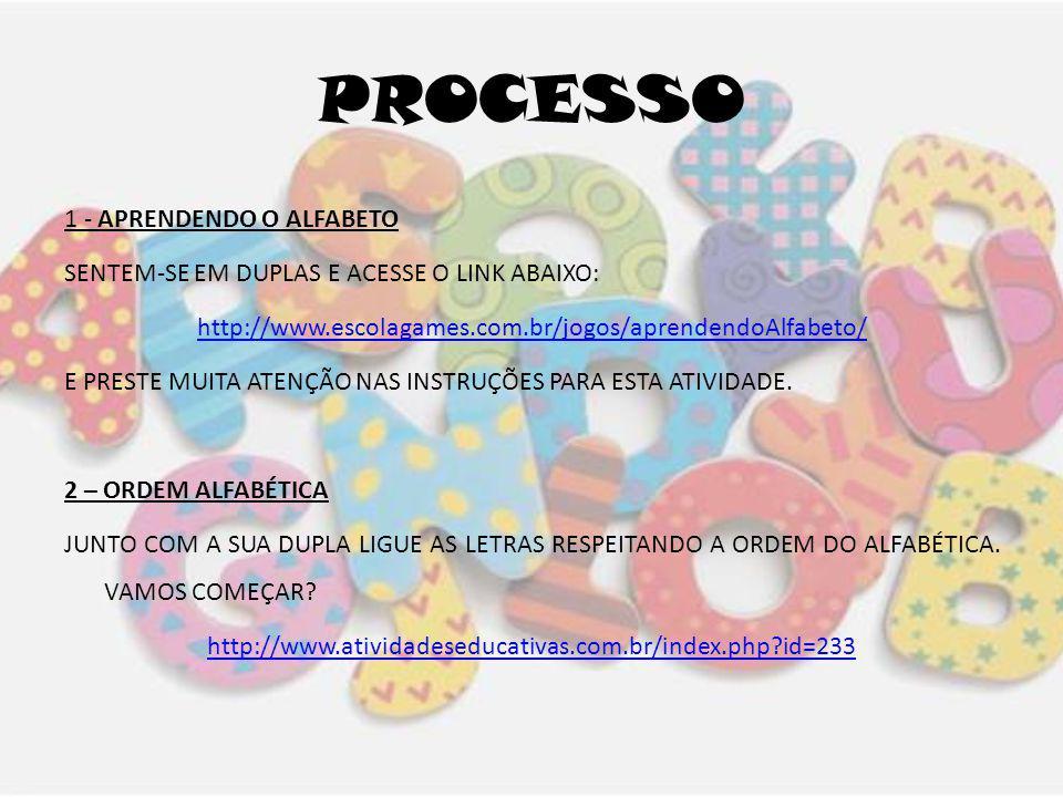PROCESSO 1 - APRENDENDO O ALFABETO SENTEM-SE EM DUPLAS E ACESSE O LINK ABAIXO: http://www.escolagames.com.br/jogos/aprendendoAlfabeto/ E PRESTE MUITA