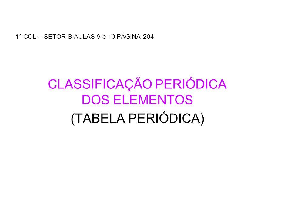 1° COL – SETOR B AULAS 9 e 10 PÁGINA 204 CLASSIFICAÇÃO PERIÓDICA DOS ELEMENTOS (TABELA PERIÓDICA)