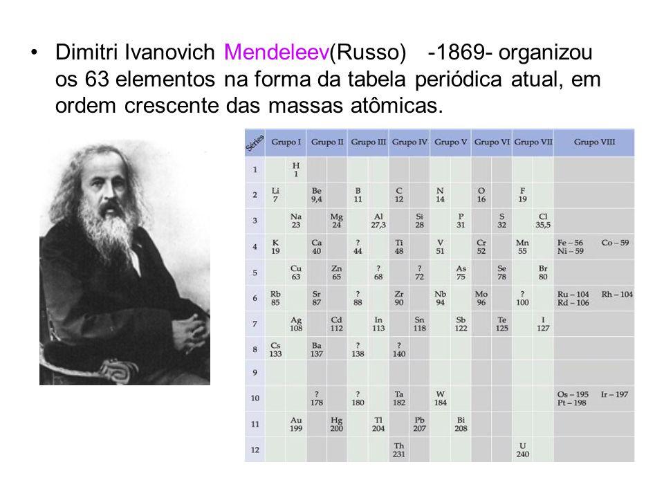 Dimitri Ivanovich Mendeleev(Russo) -1869- organizou os 63 elementos na forma da tabela periódica atual, em ordem crescente das massas atômicas.