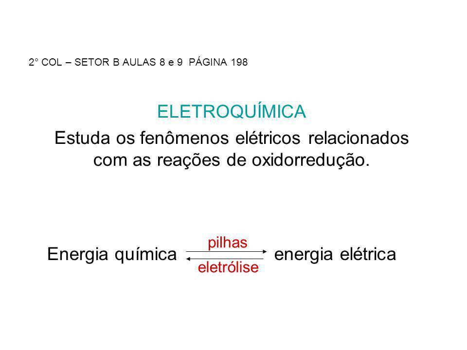 2° COL – SETOR B AULAS 8 e 9 PÁGINA 198 ELETROQUÍMICA Estuda os fenômenos elétricos relacionados com as reações de oxidorredução. Energia química ener