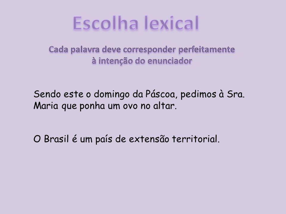 Sendo este o domingo da Páscoa, pedimos à Sra. Maria que ponha um ovo no altar. O Brasil é um país de extensão territorial.