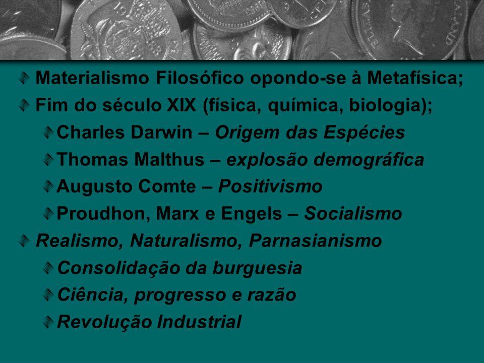 Materialismo Filosófico opondo-se à Metafísica; Fim do século XIX (física, química, biologia); Charles Darwin – Origem das Espécies Thomas Malthus – e