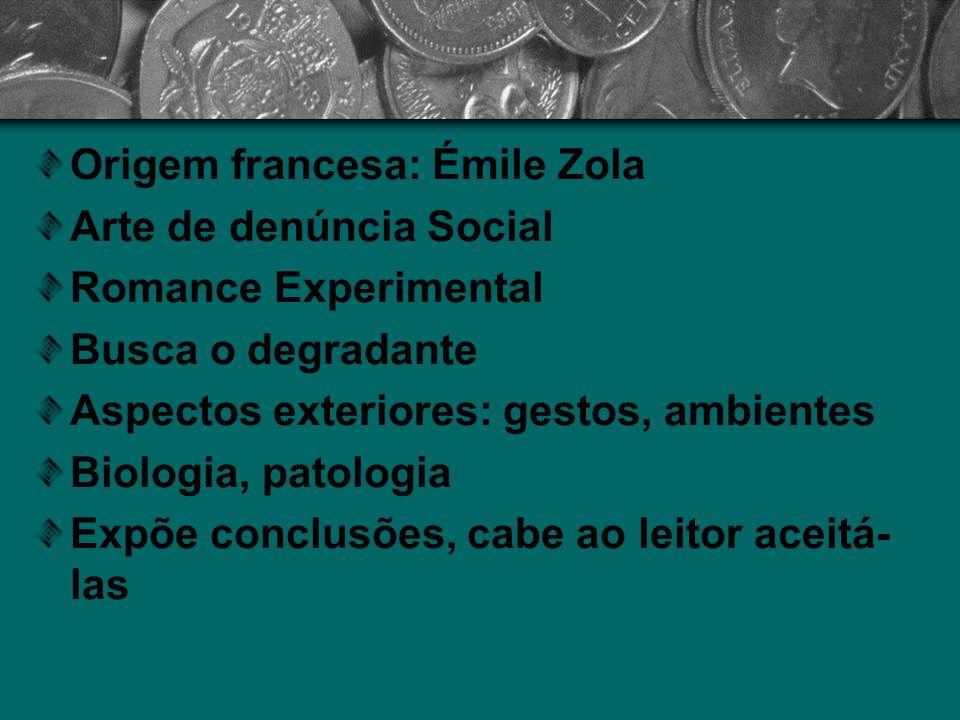 Origem francesa: Émile Zola Arte de denúncia Social Romance Experimental Busca o degradante Aspectos exteriores: gestos, ambientes Biologia, patologia