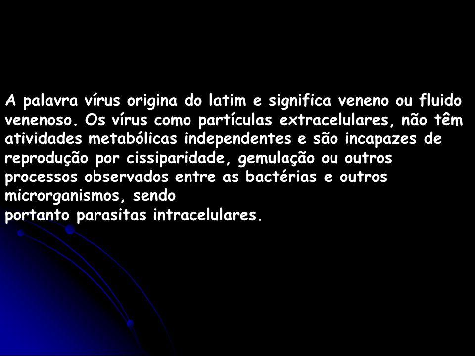A palavra vírus origina do latim e significa veneno ou fluido venenoso. Os vírus como partículas extracelulares, não têm atividades metabólicas indepe