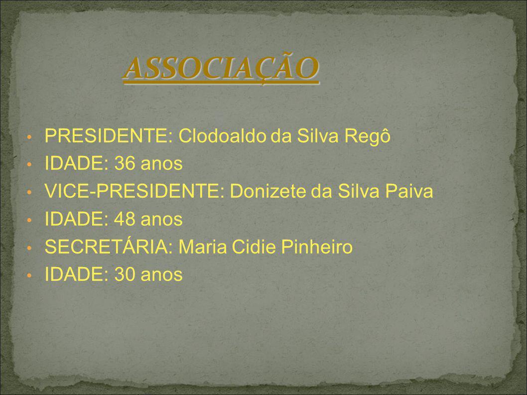 PRESIDENTE: Clodoaldo da Silva Regô IDADE: 36 anos VICE-PRESIDENTE: Donizete da Silva Paiva IDADE: 48 anos SECRETÁRIA: Maria Cidie Pinheiro IDADE: 30